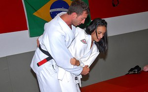 Watch this hot round ass latina black belt ninja getg fucked hard by the instructor