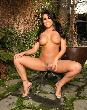 Awesome hot Eva Angelina strips down in the woods