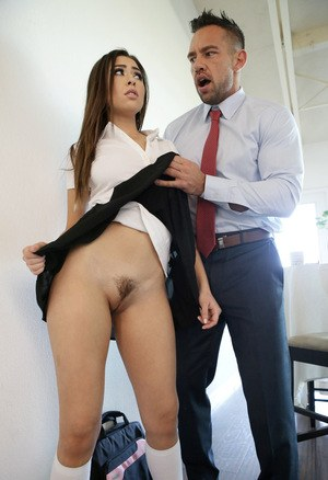Teen Melissa Moore is ready to go to school without any panties beneath her uniform