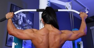 Bodybuilder Marina Lopez works out then strips off her sweaty clothes shows her muscular